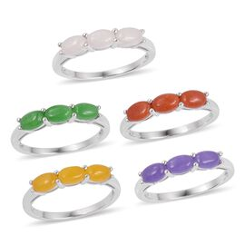 Set of 5 - White, Yellow, Red and Multi Colour Jade (Ovl) Trilogy Ring in Rhodium Plated Sterling Silver 9.800 Ct. Silver wt 9.37 Gms.
