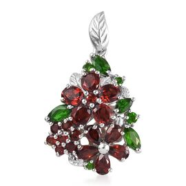 Mozambique Garnet (Oval and Pear), Russian Diopside Pendant  in Platinum Overlay Sterling Silver 6.0