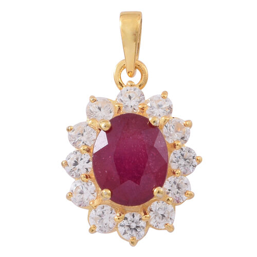 African Ruby (Ovl 3.70 Ct), Natural White Cambodian Zircon Pendant in Gold Overlay Sterling Silver 5.150 Ct.