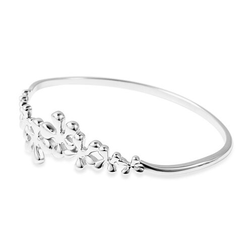 LucyQ Splash Collection - Rhodium Overlay Sterling Silver Bangle (Size 8)