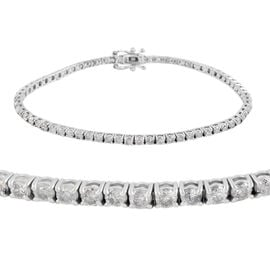 14K White Gold Diamond (I2-I3/G-H) Bracelet (Size 7) with Clasp Lock 2.99 Ct, Gold wt 5.85 Gms