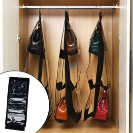 SET OF 3 Hanging Dust Proof Handbag Purse Organiser with 6 Pockets (Size:33x80Cm) - Black