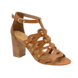 Ravel Jackson Leather Heeled Sandals in Brown Colour