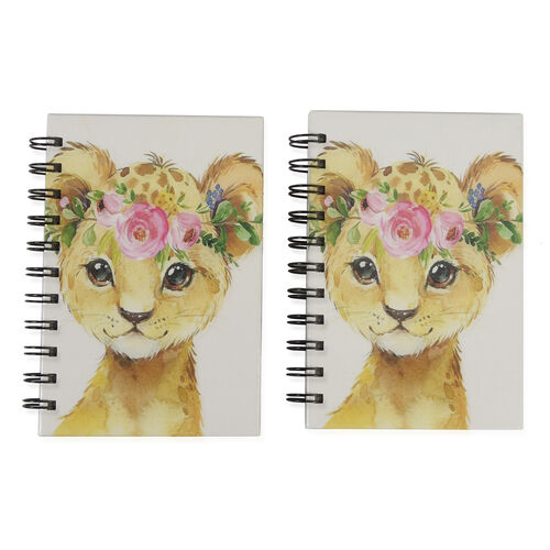 Set of 2 - Glossy Cat Cover Spiral Notebook (Size 15x10.5 cm) - 120 Pages