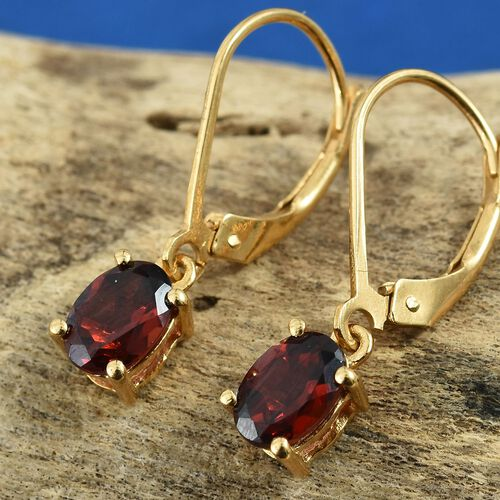 Mozambique Garnet (Ovl) Lever Back Earrings in 14K Gold Overlay Sterling Silver 2.00 Ct.