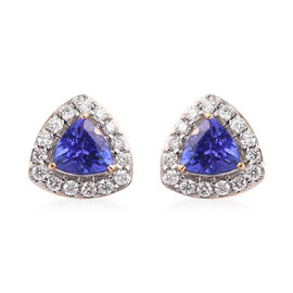 ILIANA 18K Yellow Gold AAA Tanzanite and Diamond (SI/G-H) Stud Earrings (with Screw Back) 0.97 Ct.