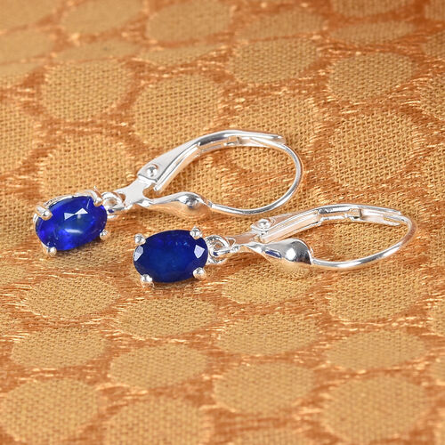 Blue Spinel Solitaire Lever Back Earrings in Sterling Silver 1.00 Ct.