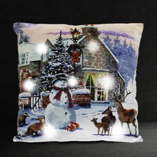 Lesser & Pavey Magic of Christmas Snowman & Deer LED Cushion (Size:40x40x12Cm) - Multi