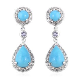 SLEEPING BEAUTY TURQUOISE (4.00 Ct),White Zircon,Tanzanite Sterling Silver Earring  5.410  Ct.