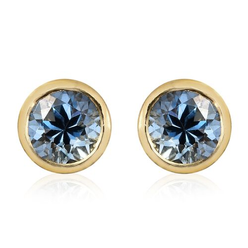 One Time Offer-Santa Maria Aquamarine (Rnd) Stud Earrings (with Push Back) in 14K Gold Overlay Sterling Silver