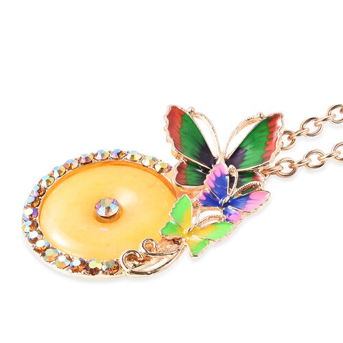 Yellow Quartzite and Champagne Magic Colour Austrian Crystal Enamelled Butterfly Pendant with Chain in Yellow Gold Tone 25.00 Ct.