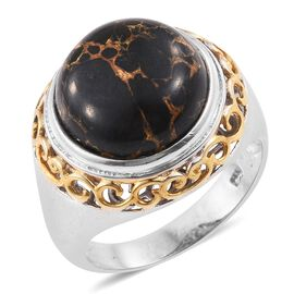 Arizona Mojave Black Turquoise (Rnd) Ring in Platinum and Yellow Gold Overlay Sterling Silver 10.500 Ct. Silver wt 7.60 Gms.