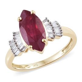 9K Yellow Gold AA African Ruby (Mrq), Diamond Ring 2.500 Ct.