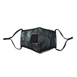 Reusable and Washable 2 Ply Face Cover with Straw Opening - Green Camouflage
