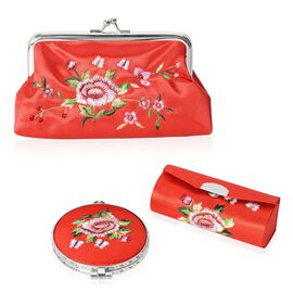 Set of 3 Floral Embroidered Red Colour Cosmetic Organizer (Coin Purse, Compact Mirror and Lipstick Case)