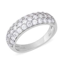 J Francis - Rhodium Overlay Sterling Silver Three Row Half Eternity Ring Made with SWAROVSKI ZIRCONI