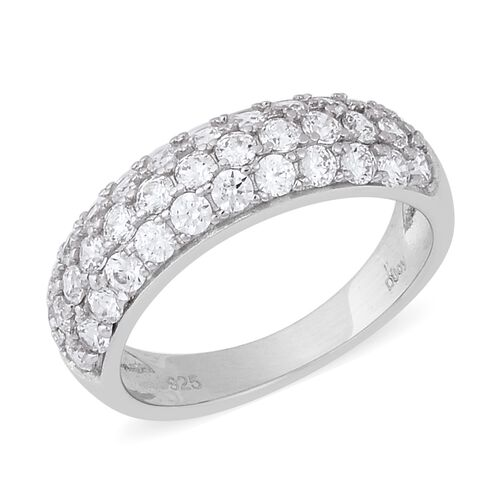 J Francis - Rhodium Overlay Sterling Silver Three Row Half Eternity Ring Made with SWAROVSKI ZIRCONI