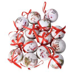 Set of 14 - Christmas Decoration Shatterproof Balls with Ribbons in the Gift Box (Dia 7.5 Cm) - Whit