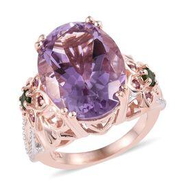 AA Rose De France Amethyst (Ovl 18x13 mm), Russian Diopside and Rhodolite Garnet Ring in Rose Gold O