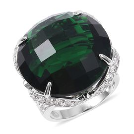 Simulated Russian Diopside (Rnd 23 mm), Simulated Diamond Ring in Silver Plated