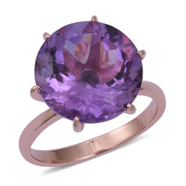 11.4 Ct Rose De France Amethyst Solitaire Ring in Gold Plated Sterling Silver 4.05 Grams