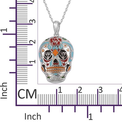 TJC Launch- Designer Inspired Multi Colour Enameled Skull Pendant with Chain (Size 20) in Rhodium Plated Sterling Silver