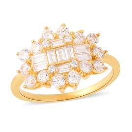 ELANZA Simulated Diamond (Bgt and Rnd) Ring in Yellow Gold Plated Sterling Silver