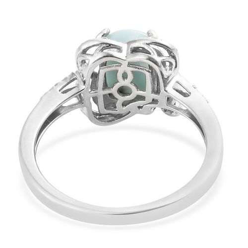 Larimar (Cush), Natural Cambodian Zircon Ring in Platinum Overlay Sterling Silver 2.500 Ct.