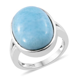 12.5 Ct Larimar Solitaire Ring in Sterling Silver 4.23 Grams