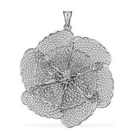 Royal Bali Open Work Lotus Floral Pendant in Silver 10.20 Grams
