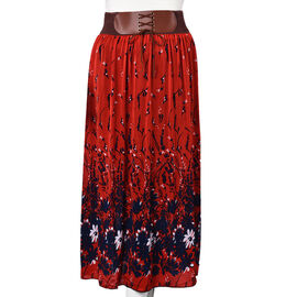 Navy and White Floral Pattern Long Skirt with Elastic Waistband (Size 85 Cm) - Red
