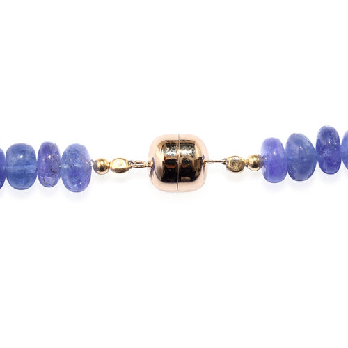 Legacy Collection - Extremely Rare Premium Colour Tanzanite Necklace (Size 18) in 14K Yellow Gold Magnetic Lock with Metal wire 220.000 Ct.