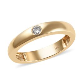 Diamond Flush Set Solitaire Ring in 9K Yellow Gold 2.66 Grams SGL Certified I1 GH