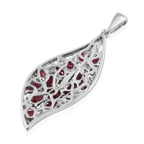 African Ruby (Pear), Natural Cambodian Zircon Pendant in Platinum Overlay Sterling Silver 6.500 Ct. Silver wt 5.36 Gms.