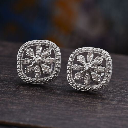 Diamond (Rnd) Stud Earrings (with Push Back) in Platinum Overlay Sterling Silver - 0.15cts
