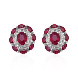 African Ruby (Ovl), Natural White Cambodian Zircon Earrings (with Push Back) in Rhodium Overlay Ster