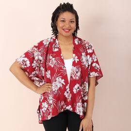 Jovie Flower Printed Kimono (Size 72x86cm) - Red