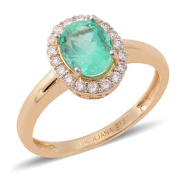 ILIANA 1.22 Ct AAA Emerald and Diamond Halo Ring in 18K Gold 2.07 Grams SI GH