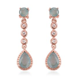Grandidierite (1.86 Ct), Natural White Cambodian Zircon Earrings in Rose Gold Overlay Sterling Silve