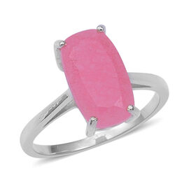 4.66 Ct Pink Jade Solitaire Ring in Sterling Silver