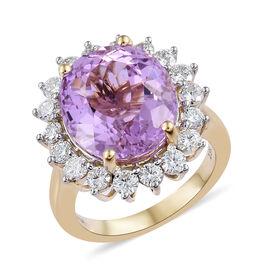 ILIANA 11.15 Ct Kunzite and Diamond Halo Ring in 18K Gold 6.30 Grams