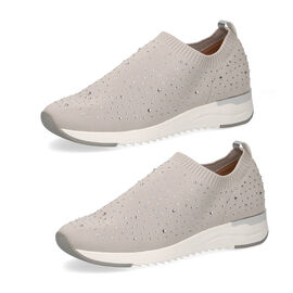 Caprice Leather Knit Embellished Trainers - Beige