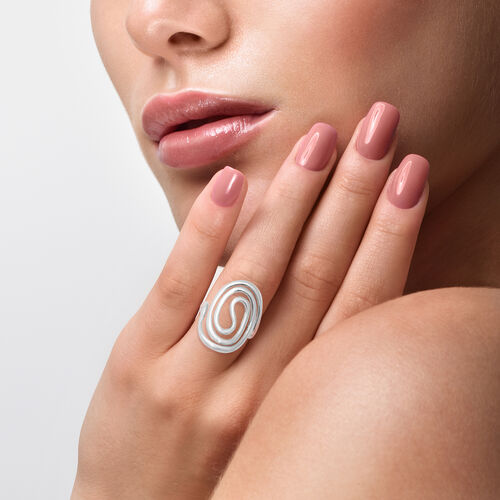 Sterling Silver Swirl Ring, Silver wt 5.70 Gms