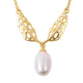 RACHEL GALLEY Freshwater White Pearl Lattice Feather Drop Necklace (Size 24) in Yellow Gold Overlay