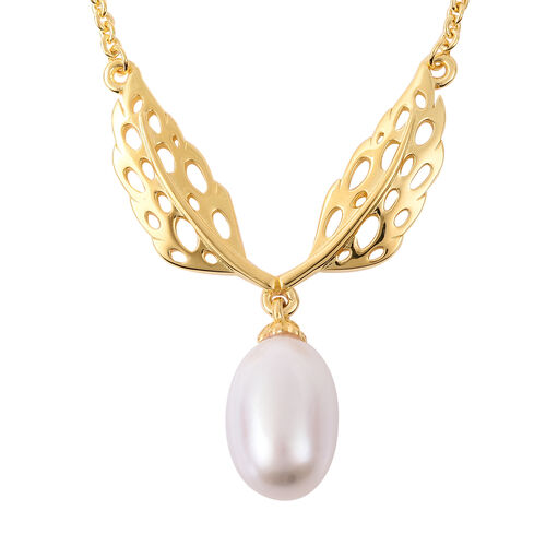 RACHEL GALLEY Freshwater White Pearl Lattice Feather Drop Necklace in Gold Plated Silver 24 Inch
