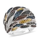 Designer Inspired Rainbow Diamond Ring (Size S) in Platinum Overlay Sterling Silver 1 Ct, Silver wt 10.00 Gms