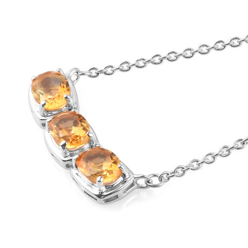 Citrine Necklace (Size 18) in Platinum Overlay Sterling Silver 2.25 Ct.