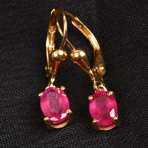 African Ruby (Ovl) Lever Back Earrings in 14K Gold Overlay Sterling Silver 2.25 Ct.