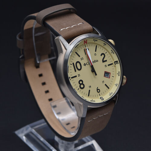 Columbia Outbacker Stone 3-Hand Date Saddle Leather Watch