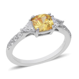 ELANZA Simulated Canary Diamond (Cush), Simulated Diamond Ring (Size N) in Rhodium Overlay Sterling Silver